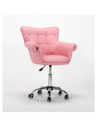 LORA CRISTAL - Fotel fryzjerski różowy z kółkami