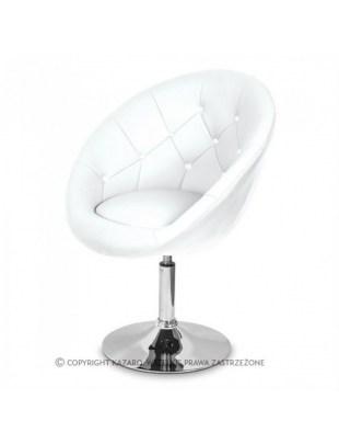 Białe krzesło kosmetyczne, pikowane, Swarovski - VIKA