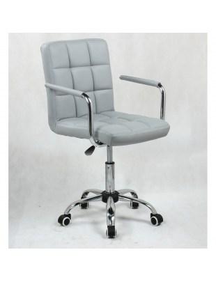MIRACLE - Krzesło kosmetyczne szare na kółkach z podłokietnikami