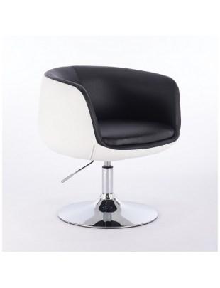 BARDO - Fotel fryzjerski biało-czarny