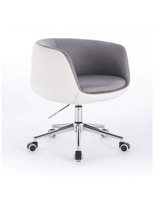 BARDO - Krzesło kosmetyczne szaro białe