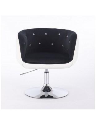 BARDO CRISTAL - Krzesło kosmetyczne czarno-biały welur
