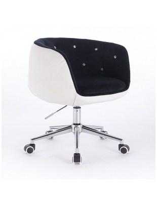 Bardo Cristal - Krzesło kosmetyczne czarno-białe tapicerowane welurem
