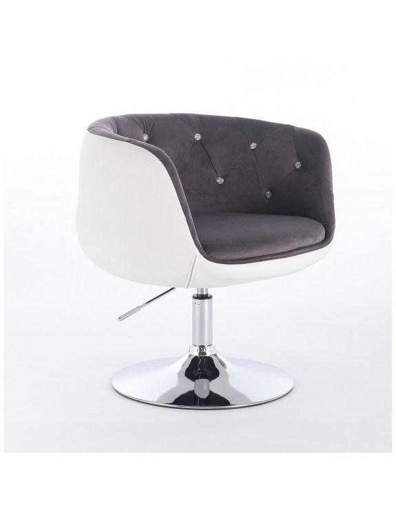BARDO CRISTAL - Krzesło kosmetyczne biało-szary welur