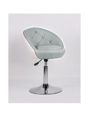 LILO - taboret kosmetyczny z kryształkami, szaro-biały