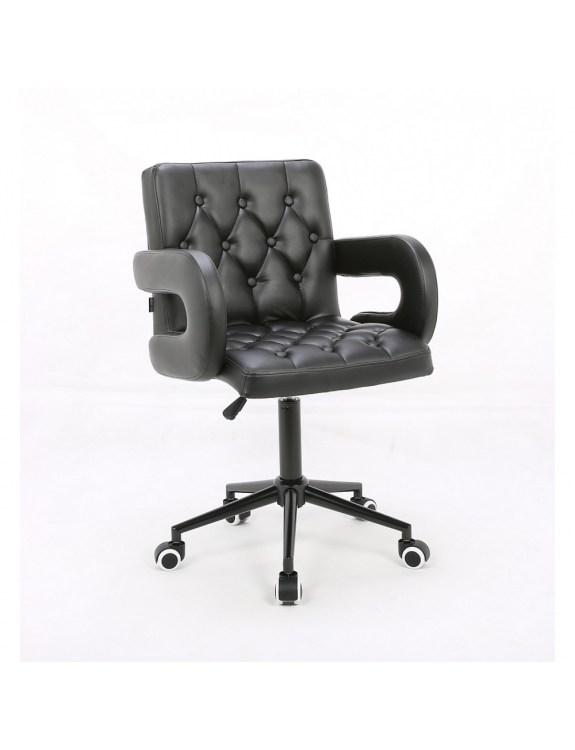 Ron II – Fotel fryzjerski tapicerowany czarną eco-skórą z guzikami tapicerskimi