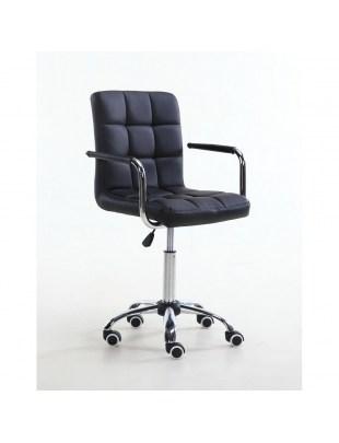 MIRACLE - Krzesło kosmetyczne czarne na kółkach skóra ekologiczna