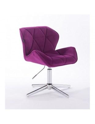 Petyr - krzesło kosmetyczne tapicerowane welurem w kolorze fuksji