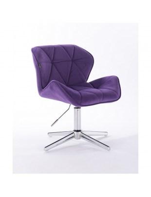 Petyr - krzesło kosmetyczne tapicerowane fioletowym welurem