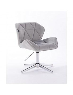 Petyr - krzesło kosmetyczne tapicerowane szarym welurem