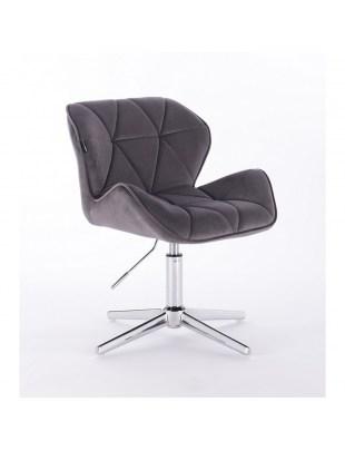 Petyr - krzesło kosmetyczne tapicerowane grafitowym welurem