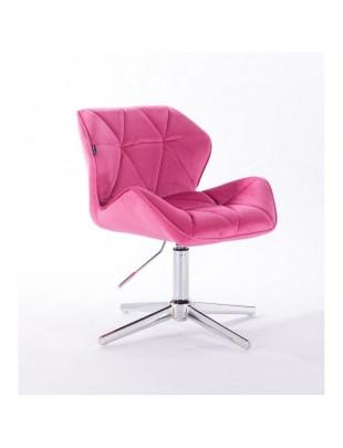 Petyr - krzesło kosmetyczne tapicerowane malinowym welurem