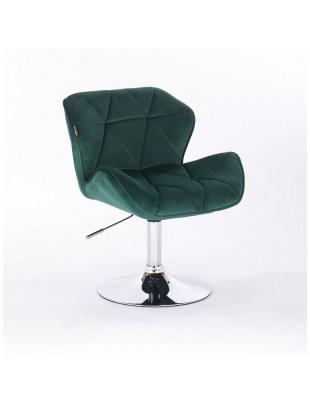 PETYR - Krzesło kosmetyczne butelkowa zieleń welur WYBÓR PODSTAW