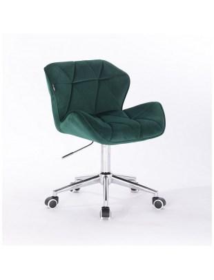 Petyr - krzesło kosmetyczne butelkowa zieleń kółka