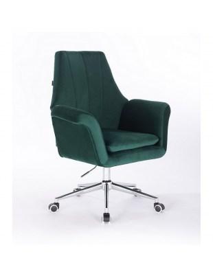 Marky - krzesło kosmetyczne butelkowa zieleń kółka