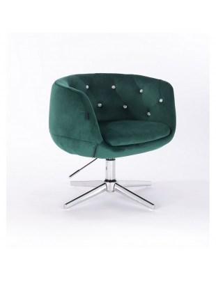 BARDO - Krzesło kosmetyczne butelkowa zieleń krzyżak