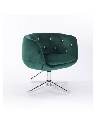 BARDO CRISTAL - Krzesło kosmetyczne butelkowa zieleń krzyżak