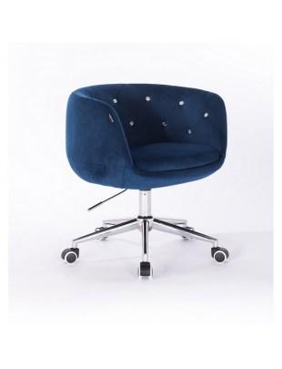 BARDO - Krzesło kosmetyczne ciemne morze kółka