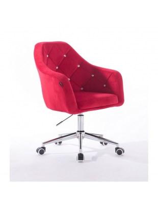 Krzesło kosmetyczne BLERM CRISTAL czerwone z kryształkami - kółka