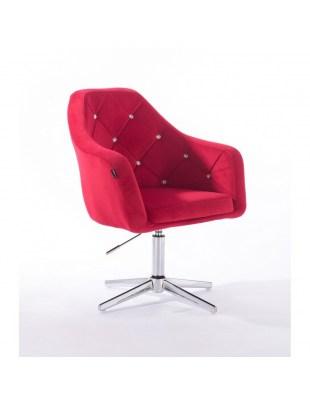 BLERM CRISTAL - Krzesło kosmetyczne czerwone z kryształkami WYBÓR PODSTAW