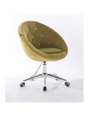 Blom Cristal - krzesło kosmetyczne tapicerowane oliwkowym welurem z kryształkami