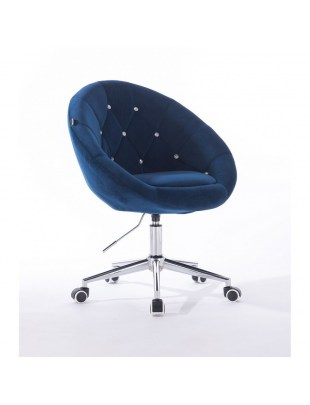 Blom Cristal - krzesło kosmetyczne tapicerowane ciemne morze welurem z kryształkami