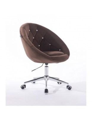 Blom Cristal - krzesło kosmetyczne tapicerowane czekoladowym welurem z kryształkami