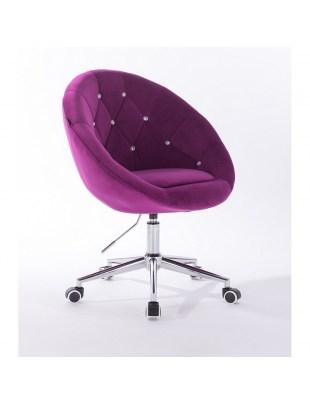 Blom Cristal - krzesło kosmetyczne tapicerowane fuksja welurem z kryształkami