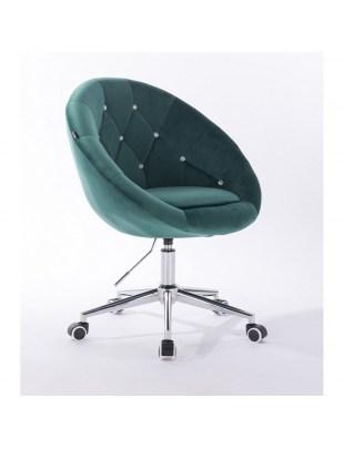 Blom Cristal - krzesło kosmetyczne tapicerowane butelkowa zieleń welurem z kryształkami