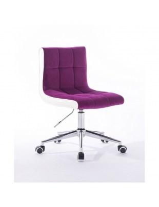 Crispy - krzesło kosmetyczne fuksja kółka, welur