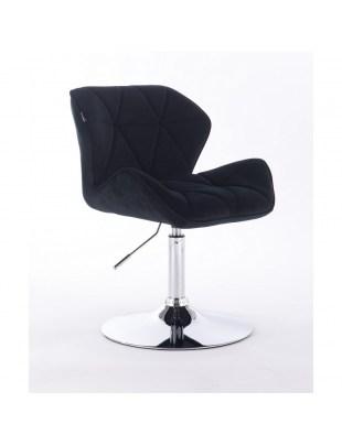 PETYR - Krzesło kosmetyczne czarne welur WYBÓR PODSTAW
