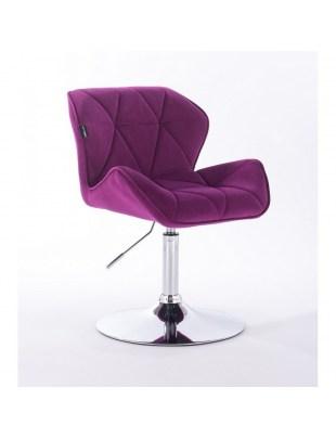PETYR - Krzesło kosmetyczne fuksja welur WYBÓR PODSTAW