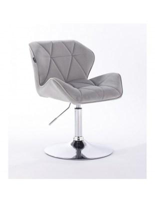 PETYR - Krzesło kosmetyczne stalowe welur WYBÓR PODSTAW