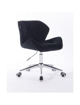 Petyr - krzesło kosmetyczne czarne welur chrom kółka
