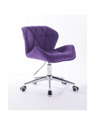 Petyr - krzesło kosmetyczne fioletowe kółka