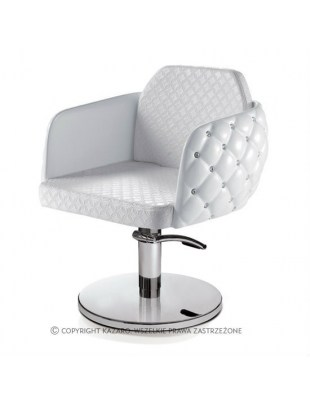 Biały pikowany fotel fryzjerski - DIAMANTE
