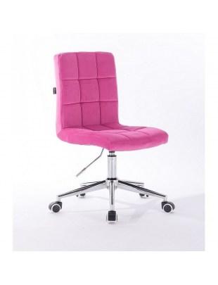 Camelia - krzesło kosmetyczne malinowe welur. kółka