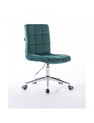 Camelia - krzesło kosmetyczne butelkowa zieleń welur. kółka