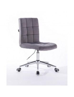 Camelia - krzesło kosmetyczne grafitowe welur. kółka