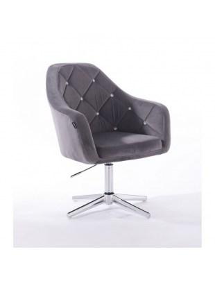 Krzesło kosmetyczne BLERM CRISTAL grafitowe - cross