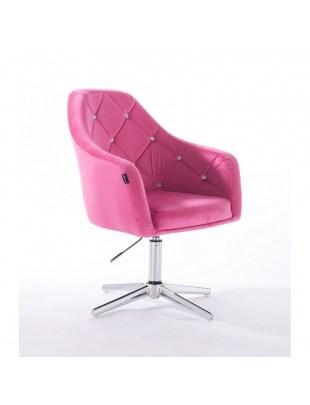 Krzesło kosmetyczne BLERM CRISTAL malinowe welur - cross