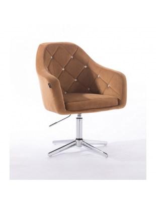 Krzesło kosmetyczne BLERM CRISTAL miodowe welur - cross
