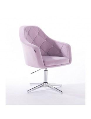 Krzesło kosmetyczne BLERM CRISTAL wrzosowe - chromowany krzyżak