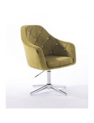Krzesło kosmetyczne BLERM CRISTAL oliwkowe z kryształkami - cross