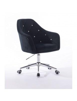 Czarne krzesło kosmetyczne BLERM CRISTAL na kółkach