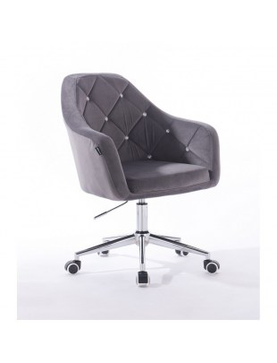 Krzesło kosmetyczne na kółkach BLERM CRISTAL grafitowe z kryształkami