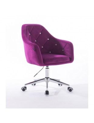 Krzesło kosmetyczne fuksja BLERM CRISTAL z kryształkami - kółka