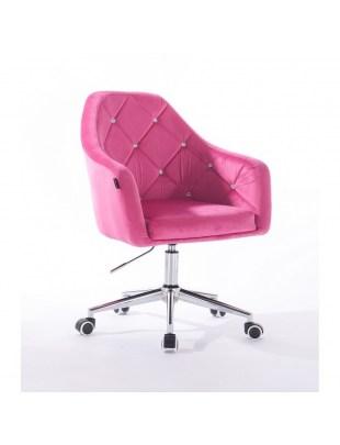 Krzesło kosmetyczne BLERM CRISTAL malinowe z kryształkami - kółka