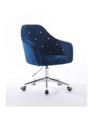 Krzesło kosmetyczne na kółkach BLERM CRISTAL ciemne morze