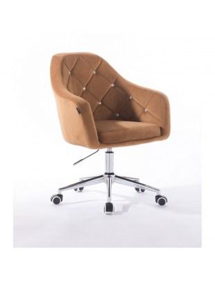 Krzesło kosmetyczne BLERM CRISTAL miodowe - kółka